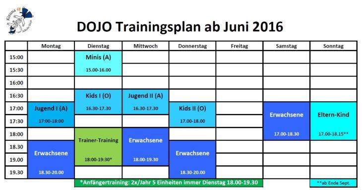 Training times ab Juni 2016