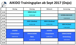 Training times Herbst 2017