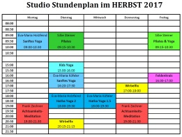 Training times Studio Herbst 2017