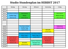 Training times Studio from Nov 2017