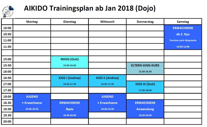 Training times ab Jänner 2018