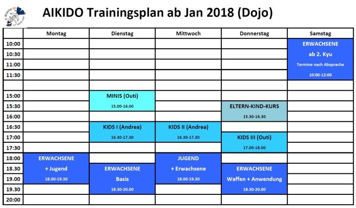 Training times ab März 2018