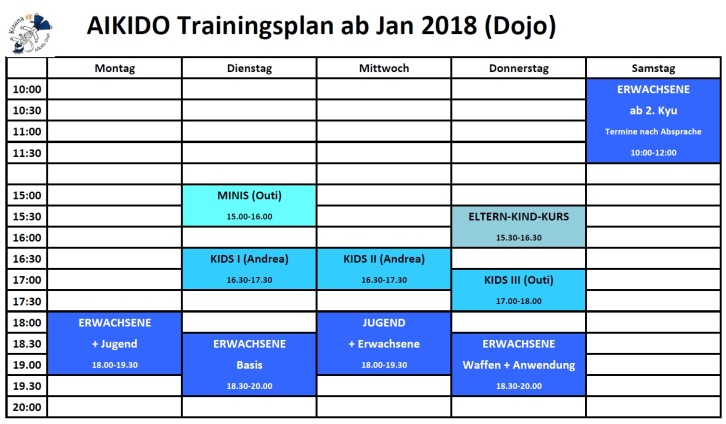 Training times ab März 2018