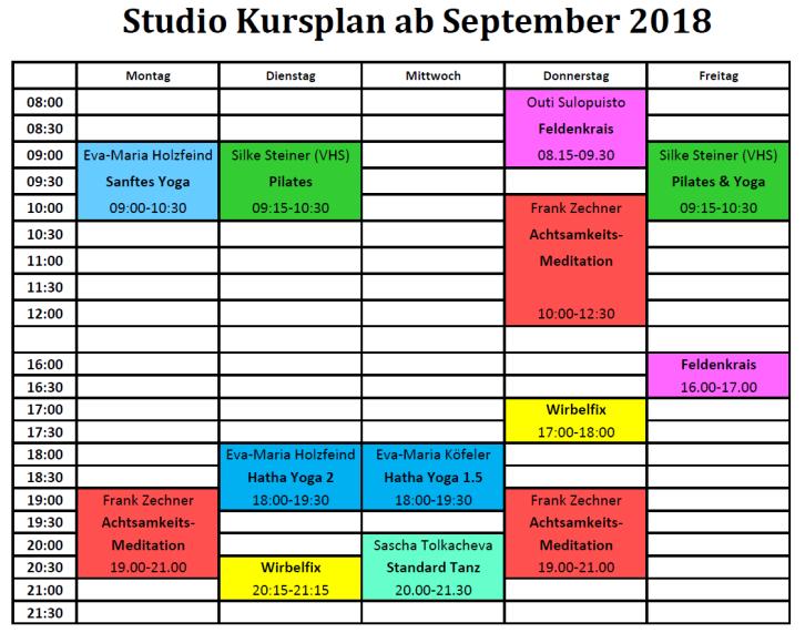 Studio Kursplan ab Sept 2018