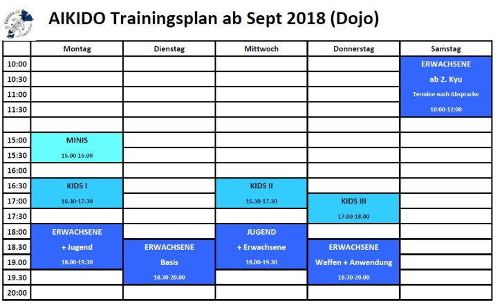 Training times Herbst 2018