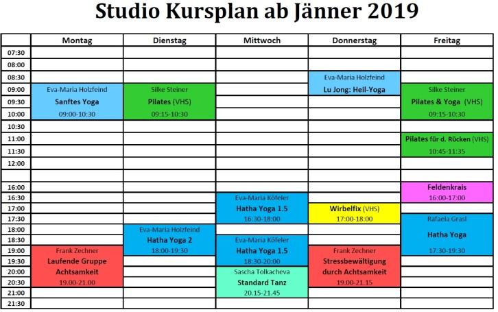 2019 Studio Kursplan Jänner