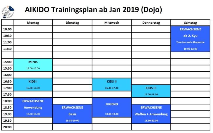 Training times ab Jänner 2019