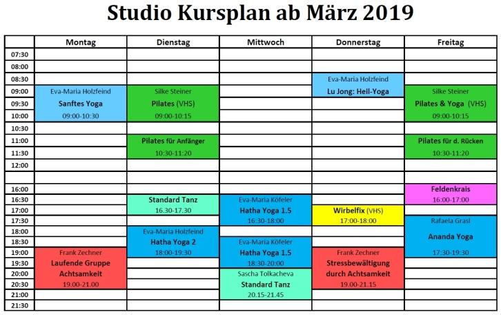 2019 Studio Kursplan März