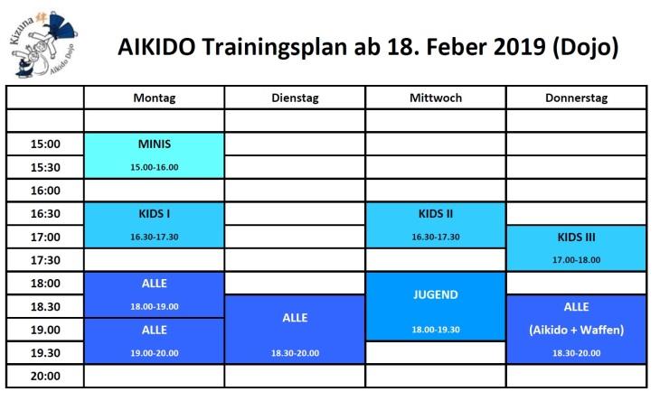 Training times ab 18. Feber 2019