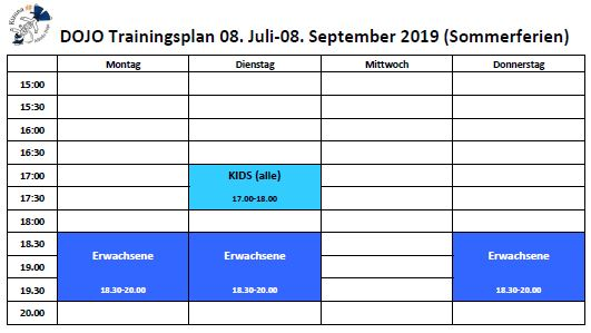 Training times Sommer 2019