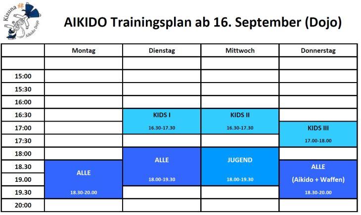 Training times Sept 2019