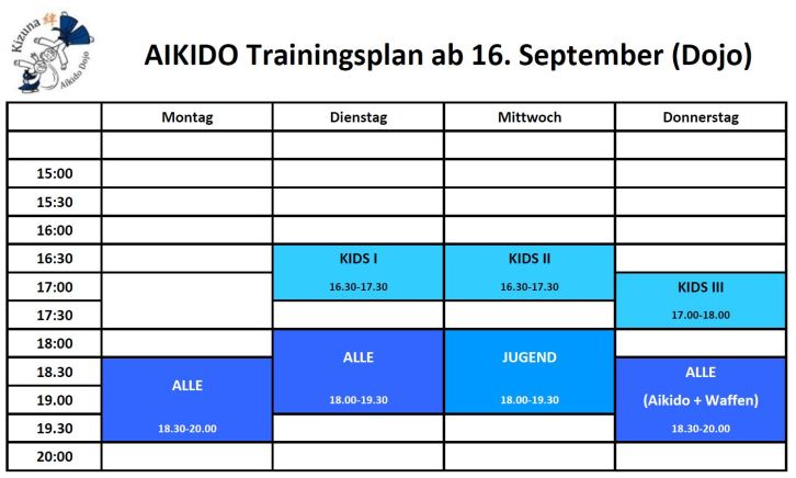 Training times Sept 2019