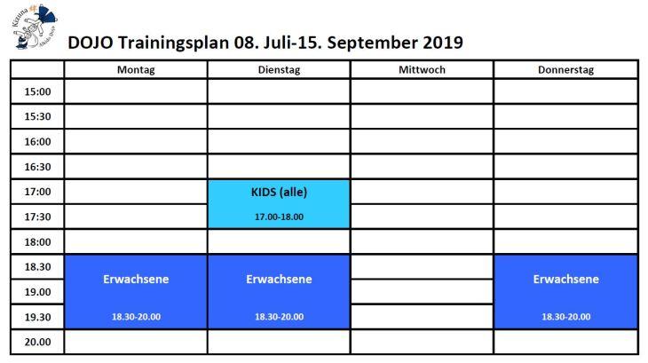 Training times Sommer 2019