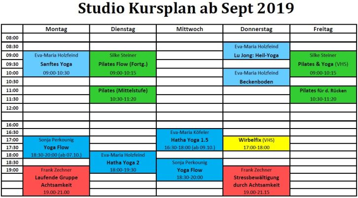 2019 Studio Kursplan Sept