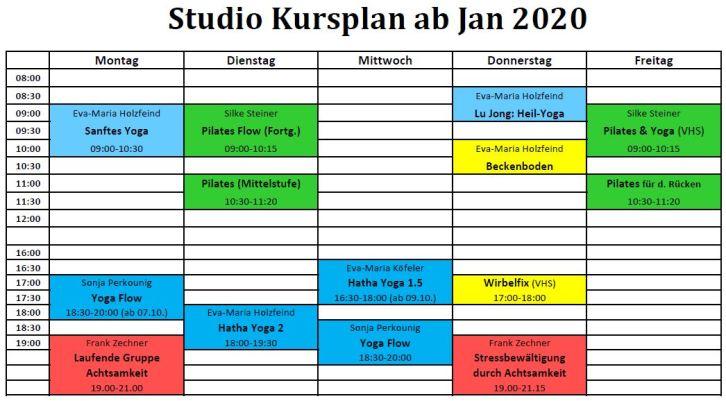 2020 Studio Kursplan Jänner