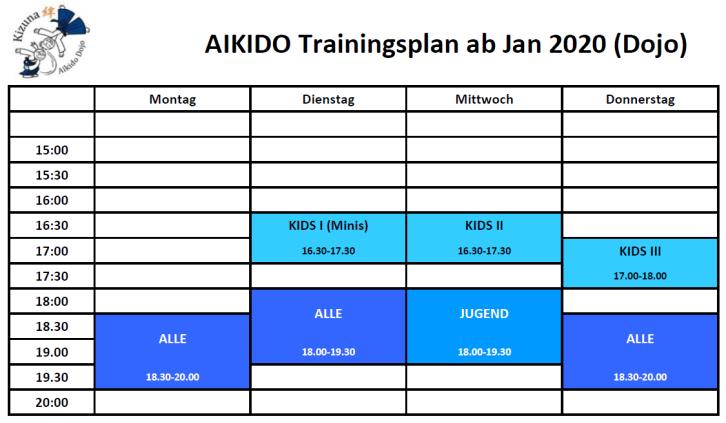 Dojo Trainingszeiten ab Jan 2020