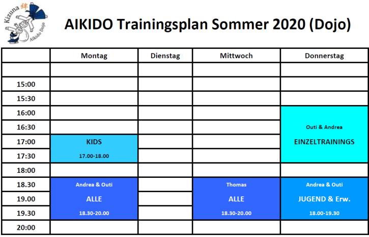 Trainingsplan Dojo Sommer 2020