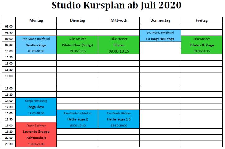 Kursplan Studio Juli 2020