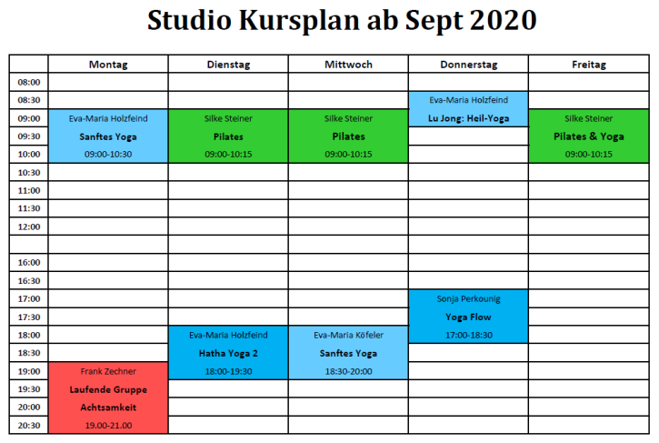 Kursplan Studio Sept 2020