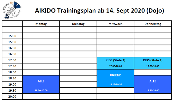 Trainingsplan Dojo Herbst 2020