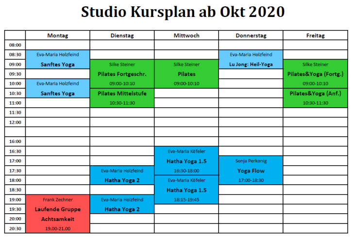 Kursplan Studio Okt 2020